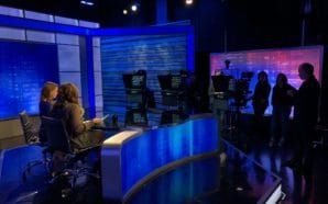 Students in the main broadcast studio